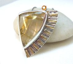 Textured Sterling Silver and Rutilated Quartz with Orange Sapphire and 14K Gold Pendent Necklace Handcrafted