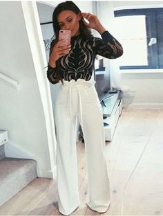 Order the Sarah Ashcroft Tall White Flared High Waisted Paperbag Trousers from In The Style. Night Out Outfit Classy, Classy Going Out Outfits, Classy Work Outfits, Night Outfits, Fashion Outfits, Winter Going Out Outfits, Womens Fashion, Fashion Fashion, Fashion Trends