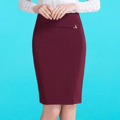 2016 New Women Pencil Skirts Casual Red Black Knee Length Skirt Female Wrap Skirts Plus Size High Waist Office Skirt Fall Skirts, Cute Skirts, Casual Skirts, Wrap Skirts, Skirt Suit, Dress Skirt, Pencil Skirt Casual, Pencil Skirts, Black Knees
