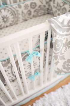 Charming gray and aqua baby bedding for a sweet nursery. Grey damask pattern with aqua piping for a splash of color. This makes for a fresh, calming nursery retreat! Wink Aqua and Gray Baby Bedding by New Arrivals, Inc. Baby Bedding, Nursery Bedding, Girl Nursery, Nursery Decor, Nursery Ideas, Aqua Nursery, Nursery Office, Project Nursery, Baby Decor