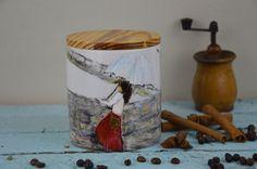 Pojemnik Ceramiczny Kobieta z Parasolem handmade painted holder