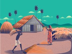 Rinse The Rice designed by Partho Mondal. Connect with them on Dribbble; Princess Illustration, Indian Illustration, Graphic Design Illustration, Graphic Art, Creative Photography Logo, Amazing Photography, Farmer Painting, Bengali Art, Chakra Art