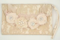Miss Rose Sister Violet - Embellished Lace Clutch Bag Vintage style lace clutch with lace and tulle rosettes embellished with pearls and diamante buttons.  size 25cm w x 15.5cm h
