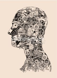 Vector Art : Cogs and Gears Human Head. Cyborg profile.