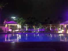 The pool at night time at The Divi Aruba All Inclusive Resort.
