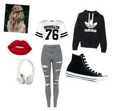 """Lightning bolt"" by berryfancy ❤ liked on Polyvore featuring Boohoo, adidas, Topshop, Converse, Lime Crime and Beats by Dr. Dre"