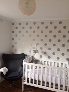 Grey or Silver Polka Dot Nursery would be cute with a polka dot dust ruffle for the crib by Pine Creek Bedding