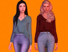 "sgisims' pari sweater i love this orange background ""mesh by them four swatches catalog custom thumbnail credits: sgisims and all the cc creators "" download"