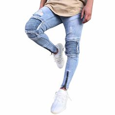 Mens Ripped Slim Fit Motorcycle Vintage Denim Jeans Hiphop Streetwear Pants Clothing Type: Men's Jeans Material: Cotton + Denim Pattern Type: Solid Style: Casual, Sexy Fit: Fits true to size Thickness: Standard Size Chart(Unit:cm/inch) Skinny Biker Jeans, Ripped Jeans Men, Ripped Skinny Jeans, Vintage Jeans, Jean Vintage, Denim Jeans, Jeans Pants, Jeans Material, Emporio Armani