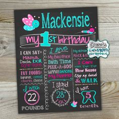 Butterfly Birthday Chalkboard First Birthday Chalk poster| Birth stats | Custom printable | Birthday chalk poster boards are a fun and creative way to announce baby's first year milestones during your photography session! Available as a digital file, or a professional print! Choose from our list of babies' milestones, or add your own! by DazzleDesignGraphics