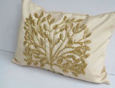 Honey gold 12X18 inch tree pillow cover with gold tree beadwork - handmade. $36.50, via Etsy.
