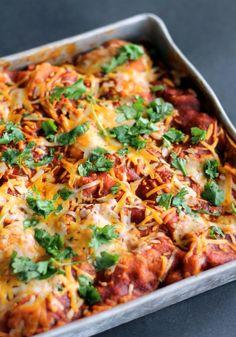 Stacked BBQ Chicken & Sweet Potato Enchilada Casserole