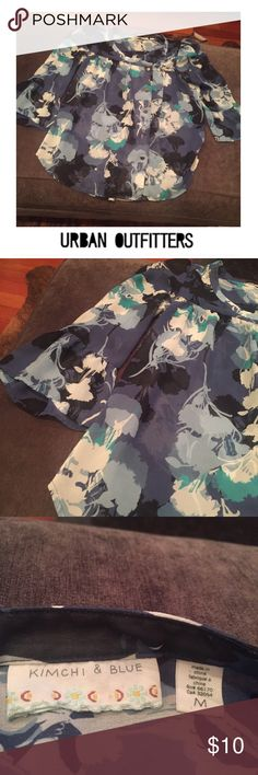 Urban Outfitters Kimchi Blue Floral Blouse Urban Outfitters Kimchi Blue Floral Blouse. Gold button down. Semi sheer. 18.5 inch bust. 24 inches long. Gently worn. Bell Sleeve. Great condition. Feel free to make an offer or bundle and save! Urban Outfitters Tops Blouses