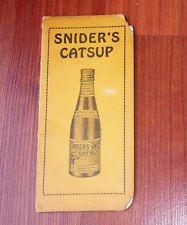 Vintage SNIDER'S Catsup Chili Sauce Advertising Premium Paper Notebook
