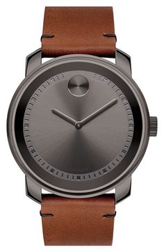4ea3ed7023a Movado  Bold  Leather Strap Watch