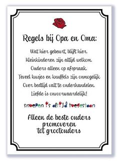 Regels bij opa en oma | Familie | Signs of Time Signs, Frame, Home Decor, Picture Frame, Decoration Home, Room Decor, Shop Signs, Sign, Frames