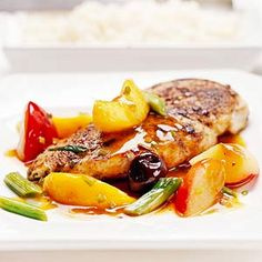 Fresh and sweet, peaches, plums, and cherries provide a flavorful counterpoint for these peppery chicken breasts.