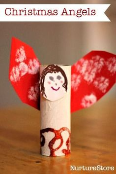 Lovely Christmas angel craft! Lots of Christmas crafts for kids on this site.
