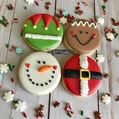 Cute Christmas Cookies, Christmas Snacks, Iced Cookies, Christmas Cooking, Holiday Cookies, Cupcake Cookies, Holiday Treats, Cookies Et Biscuits, Cupcakes
