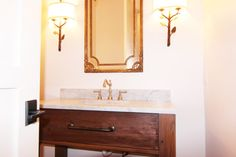 Guest Bathroom with reclaimed wood ceiling:Waterside Home Tour: Simple Nature Decor