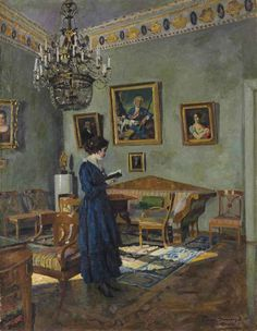 Young Woman Reading Artwork By Sergei Arsenevich Vinogradov Oil Painting & Art Prints On Canvas For Sale Reading Art, Woman Reading, Reading Books, Image Avatar, People Reading, Books To Read For Women, Illustration, Russian Art, Nocturne