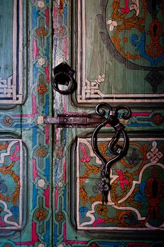 A close-up view of the inside of a hotel room door at the Casa Hasan riad hotel in Chefchaouen, Morocco.
