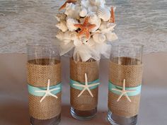 Set of 3 Starfish & Burlap Beach Theme Wedding Vases. Perfect for Bride and Bridesmaid Bouquets after the ceremony use your bouquets as wedding decor by ParadiseBridal on Etsy. ParadiseBridal is the place to buy all your wedding supplies so professional and nice quality.