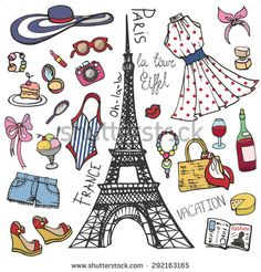 Fashion illustration.Paris France Eiffel tower.Women summer  dress,clothes,accessories,symbol.Hand drawing fashionable Vector  background,summer party ,vacation set.Isolated Sketches,design template