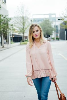 Studs and Blush | Blush top outfit | Studded Sandals | Uptown with Elly Brown