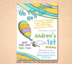 Oh The Places You'll Go Birthday Invitation - Printable - First Birthday - 1st Birthday - Boy - Oh The Places He'll Go