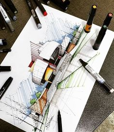 [New] The Best Drawings Today (with Pictures) - These are the 10 best drawings today. According to drawing experts, the 10 all-time best drawings. Architecture Concept Drawings, Architecture Sketchbook, Futuristic Architecture, Architecture Design, Building Architecture, Computer Architecture, Interior Design Sketches, Drawing Interior, Architecture Presentation Board