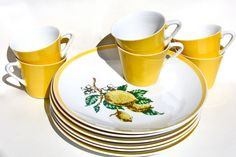 Vintage Lemon Yellow Porcelain Dishes and Cups Set 6 by TwoNoels. $30.00 USD, via Etsy.