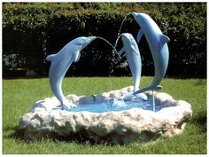 3 blue dolphins--I'd like this in my garden Dolphin Bedroom, Ocean Bedroom, Orcas, Bottlenose Dolphin, Humpback Whale, Modern Fountain, Dolphins Tattoo, Dolphin Art, Room Themes