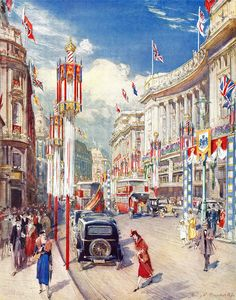 Regent Street decorated for the 1937 Coronation. Illustrated by Henry C. Brewer R. From The Illustrated London News, Coronation Ceremony Number, May, Regent Street, Street Art, Street View, George Vi, Photo Magnets, London Art, Map Art, Retro, Vintage Advertisements