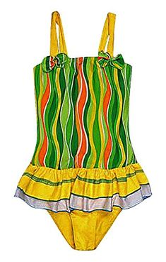 Sweety Baby Girls 1 Piece Colorful Curves Print Bow Tie Detail Skirted Monokini Green 5 *** For more information, visit image link.