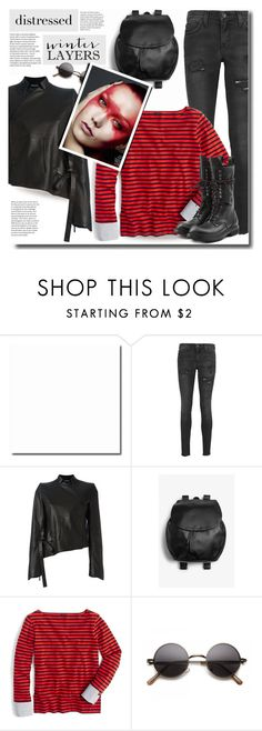 """black distressed jeans"" by bynoor ❤ liked on Polyvore featuring Current/Elliott, Ann Demeulemeester, Monki, J.Crew, Rick Owens, sundance and distresseddenim"