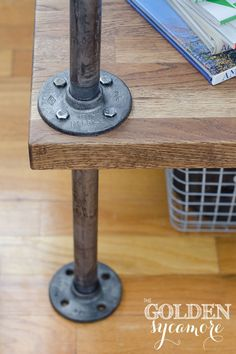 Industrial furniture feet - Knock Off Industrial Side Table | Golden sycamore