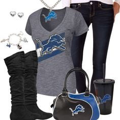 Trendy Chill Detroit Lions Fan Outfit, Detroit Lions V-neck Tee Detroit Lions Football, Detroit Sports, Cincinnati Bengals, Indianapolis Colts, Nfl Sports, Nfl Football, Calvin Johnson, Trendy Fashion, Womens Fashion