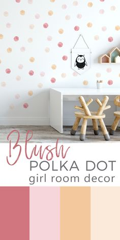 Add some muted pink, beige and ochre color touches to your nursery or  kids play room with these polka dot wall decals. Wall decals are made  from my original illustrations and printed on PVC free woven material.  It is self adhesive and removable. It makes installation very easy and  quick. Just peel, stick and enjoy wonderful changes of the room. #polkadotwallstickers #girlroomwallstickers #mutedpinkgirlroomdecor #blushpinkdecorforgirlroom #girlwallstickers Polka Dot Nursery, Polka Dot Walls, Polka Dot Wall Decals, Polka Dots, Girls Wall Stickers, Room Stickers, Kids Room Wall Decals, Nursery Decor, Room Decor