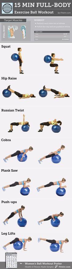 15-Minute Full-Body Exercise Ball -Workout content @ https://www.pinterest.com/dcindcmedia/