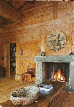 Axel Vervoordt's chalet in Verbier, Switzerland Wabi Sabi, Loft Interior, Interior Ideas, Modern Interior, Chalet Style, Ski Chalet, Alpine Chalet, Top Interior Designers, Fireplace Design