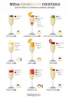 Champagne Cocktails Need some cocktail ideas for New Year's Eve? This is our recommendation for easy to make, great tasting Champagne cocktails. And one with Prosecco! Best of them come with infographic recipes! Cocktail Menu, Signature Cocktail, Cocktail Recipes, Cocktail Ideas, French 75 Cocktail, Prosecco Cocktails, Classic Cocktails, Popular Cocktails, Vodka Martini