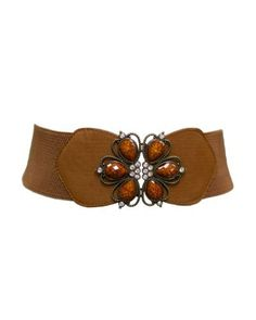 9efece54b6ac8d Brown Flower Crested Rhinestone Buckle Elastic 3