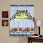 Achim Sheer 57 in. W x 36 in. L Golden Delicious Ice Blue Printed Tier and Swag Window Curtain Set
