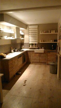 Kitchen with concrete countertop