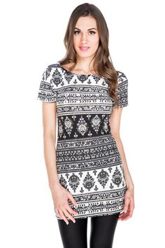 Boho Print Short Sleeve Tunic