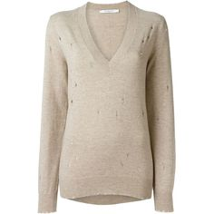Givenchy distressed v-neck sweater (€1.155) ❤ liked on Polyvore featuring tops, sweaters, cashmere sweater, cashmere v-neck sweater, pink top, long sleeve tops and pink sweater