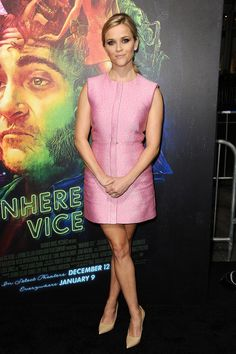 Reese wowed in this mod pink Balenciaga minidress at the Hollywood premiere of Inherent Vice. - TownandCountryMag.com