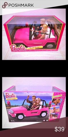Barbie Beach Cruiser & Ken Doll Pink Jeep CJD12 • Dimensions: 14 x 7.5 x 8.6 inches • Model number: CJD12 • Recommended age: 36 months - 10 years • The perfect sporty beach cruiser for Barbie and Ken • Two-seater Barbie cruiser features shiny metallic wheels and signature-pink exterior  Brand New - no tags. Barbie and Ken are ready for fun in the sun and cruising along the road near the beach or outdoors with their new beach cruiser Jeep. Includes Barbie and Ken dolls and vehicle. mattel…
