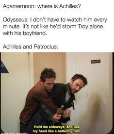 Greek Mythology Humor, Greek And Roman Mythology, Greek Gods, Book Memes, Book Quotes, Greek Memes, Achilles And Patroclus, Supernatural, Greek History